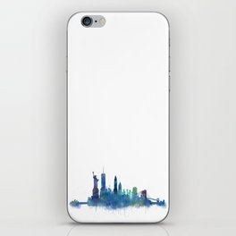 NY New York City Skyline NYC Watercolor art iPhone Skin