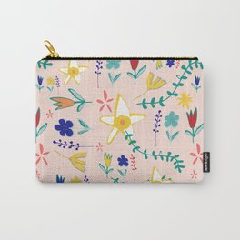 Floral The Tortoise and the Hare is one of Aesop Fables pink Carry-All Pouch