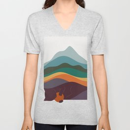 Cat Landscape 8 Unisex V-Neck