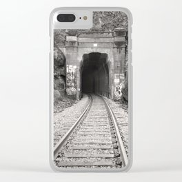 Bellingham Railroad Tunnel, Washington Trains, Northwest Landscape, Sepia Print Clear iPhone Case