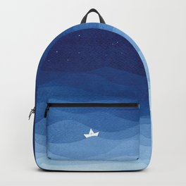 Lighthouse & the paper boat, blue ocean Backpack