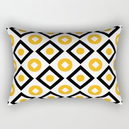 Sun yellow pattern of rhombuses and circles Rectangular Pillow