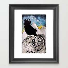 Woman in the Mountains Framed Art Print