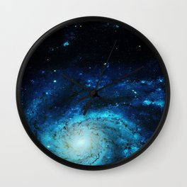 Teal Pinwheel Galaxy Wall Clock