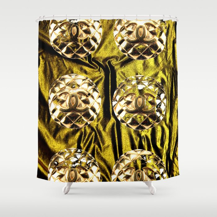 gold vintage earrings coco Shower Curtain