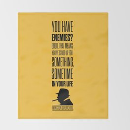 Lab No. 4 - Winston Churchill Inspirational Quotes Poster Throw Blanket