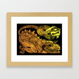 Golden two-headed dragon Framed Art Print
