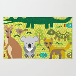 Animals Australia snake, turtle, crocodile, alliagtor, kangaroo, dingo Rug