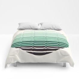 Deep Green Mid Century Modern Minimalist Scandinavian Colorful Stripes Geometric Pattern Round Circl Comforters