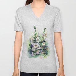 Watercolor Hollyhocks white flowers Unisex V-Neck
