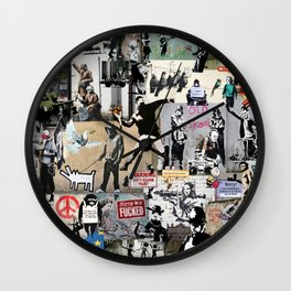 Banksy Collage Wall Clock