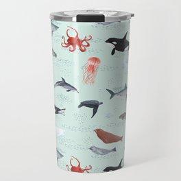 Ocean Life - Light Blue Travel Mug