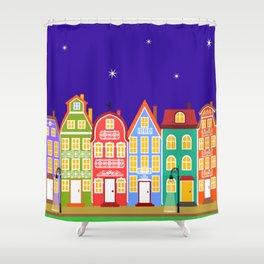 Cute Night Town Cartoon Houses Shower Curtain