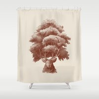 thrones Shower Curtains featuring Old Growth  by Terry Fan