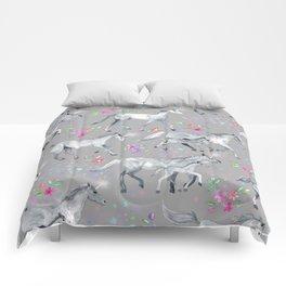 Unicorns and Stars on Soft Grey Comforters