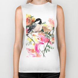 Chickadee bird art design, Birds and Flowers Biker Tank