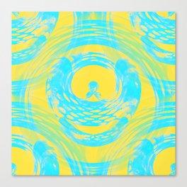 Abstract Aqua and Yellow Canvas Print
