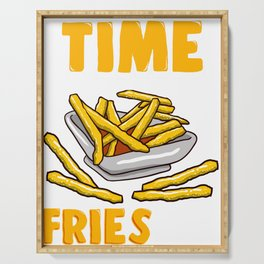 Cute Time Fries By Funny French Fry Food Pun Serving Tray
