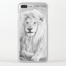 Albino Lion (Black and White) Clear iPhone Case