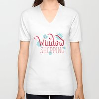 shopping V-neck T-shirts featuring Window Shopping by Daily Dishonesty