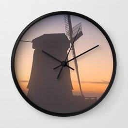 I - Traditional Dutch windmills in winter at sunrise Wall Clock