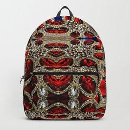 trendy stylish luxury girly glam red silver rhinestone Backpack
