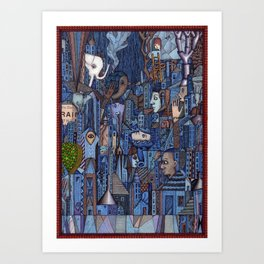 White Elephant in the Blue City Art Print