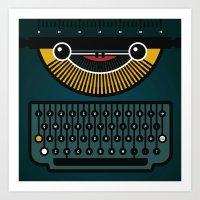 typewriter Art Prints featuring typewriter by The Geek Store
