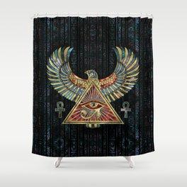 Eye of Horus - Wadjet  Gemstone and Gold Shower Curtain
