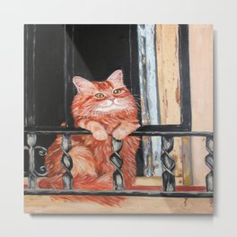 Red cat in the window Metal Print