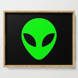 Black and Green Alien Head Shape Serving Tray