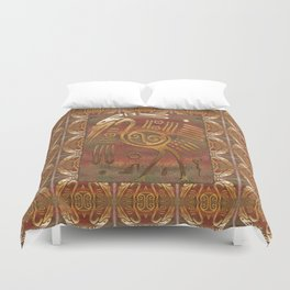 Mexicano Chrome Tribal Art Duvet Cover
