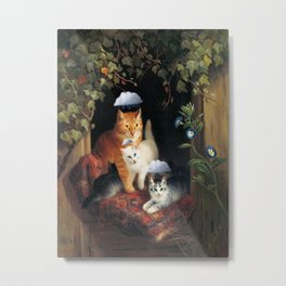 Three Bad Cats ( Tres Gatos Malos) with black clouds that follow them around portrait painting Metal Print