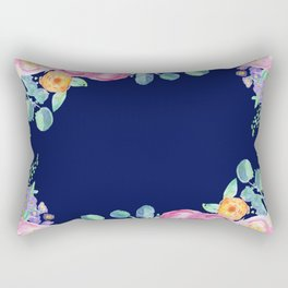 light pink peonies with navy background Rectangular Pillow