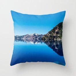 Blue Lake Sky // Rocky Evergreen Mountain and Snowcap Sierra Range Reflection Throw Pillow