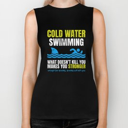 Funny Cold Water Swimming Shark  Biker Tank