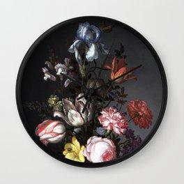 Dutch floral, vintage, bouquet, bohemian, Wall Clock