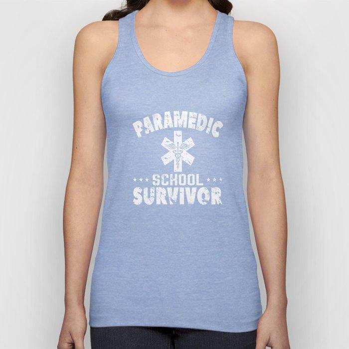 Paramedic School Survivor Funny EMT Distressed T-Shirt Unisex Tank Top