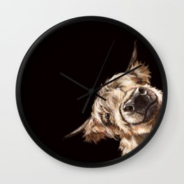 Sneaky Highland Cow in Black Wall Clock