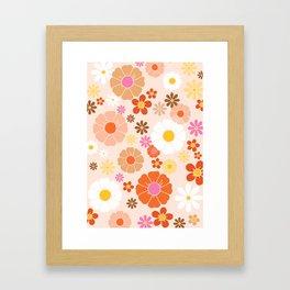 Groovy 60's Mod Pastel Flower Power Framed Art Print