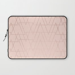 modern rose gold geometric thin triangles blush pink abstract pattern Laptop Sleeve