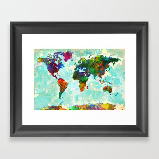 Abstract Watercolor World Map Framed Art Print by Gary Grayson Society6