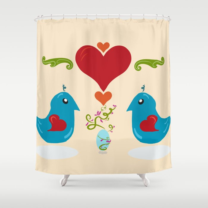 Kawaii Folk Art Birds Shower Curtain