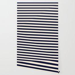 Navy Ivory Bold Stripes Wallpaper