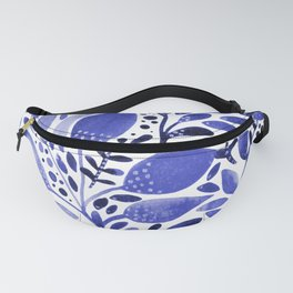 Watercolor branches and leaves - blue Fanny Pack