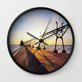 Grand Haven Pier color Wall Clock