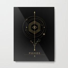 Pisces Zodiac Constellation Metal Print