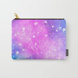White constellation universe pattern zodiac on purple blue nebula space watercolor Carry-All Pouch