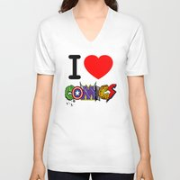 dc comics V-neck T-shirts featuring I LOVE COMICS by DeMoose_Art
