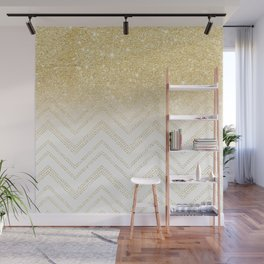 Modern gold ombre chevron stitch pattern Wall Mural